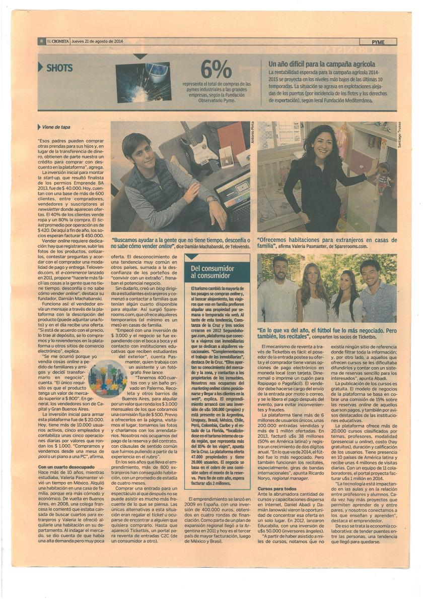 Nota El cronista Pymes 21 de agosto de 2014